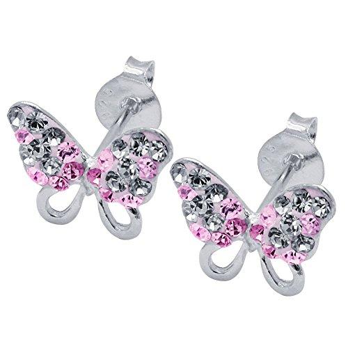 SoulCats® 1 Paar Ohrstecker Schmetterlinge echt 925 sterling Silber Straß Glitzer, Farbe:pink