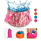 Collapsible Water Bucket Camp Bucket, NATUCE Ultralight Folding Wash Basin Carrying Pouch Travel Outdoor Camping Hiking Storage Pouch 15L - Rose Red