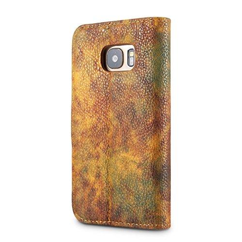 EKINHUI Case Cover Wald Serie Bunte Paiting Litchi Textur Premium PU Leder Horizontale Flip Stand Brieftasche Fall Deckung mit Card Slots für Samsung Galaxy S7 ( Color : Violet ) Yellow