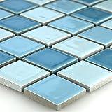 Keramik Mosaik Fliesen Blau Mix 25x25x5mm