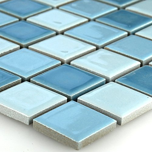 Keramik Mosaik Fliesen Blau Mix 25x25x5mm -