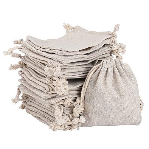 Irich 30 pezzi sacchetti regalo di cotone con coulisse, naturale sacchetto di mussola per fai da te mestiere festa matrimonio bomboniere gioielli (10 x 12cm)