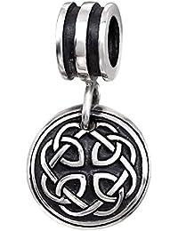 So Chic Joyas - Abalorio Charm duro de Triquetra Celtic - Compatible con Pandora, Trollbeads, Chamilia, Biagi - Plata 925