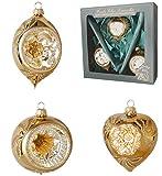 Original LAUSCHAER Christbaumschmuck - 3er Set Reflexkugeln Gold mit Glitter, 9 cm, mit Goldenem Krönchen + 50 Schnellaufhänger in Gold Gratis zu Ihrer Bestellung Dazu !
