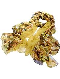 Nella-Mode CHIC & ELEGANT: Grosser XXL-SEIDENSCHAL (ca. 195 x 110 cm) in besonderen Design: uni Gelb (Crepe Georgette-Seide) und florales Muster (Chiffon-Seide) kombiniert; Schal aus 100% Seide