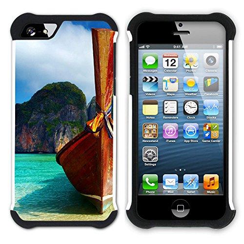 Graphic4You Thailand Strand Postkarte Aussicht Hart + Weiche Kratzfeste Hülle Case Schale Tasche Schutzhülle für Apple iPhone SE / 5 / 5S Design #2
