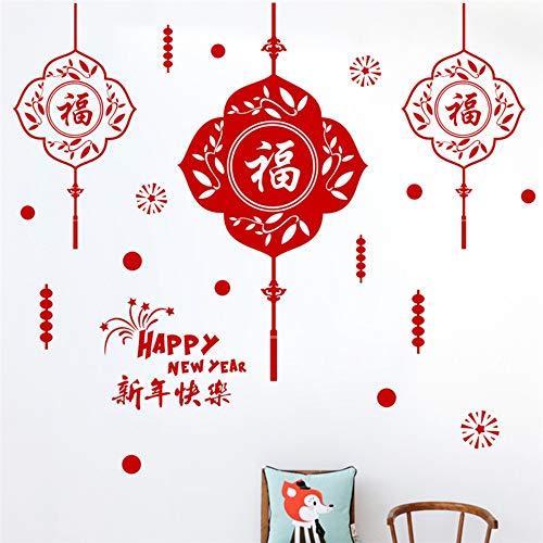 Glückliches Chinesisches Neues Jahr 25 * 70 Cm Wandtattoos Wohnkultur Wohnzimmer Frühling Festival Wandaufkleber Pvc Wandbild Kunst Diy Tapete (Jahr-dekorationen Chinesische Machen Neues)