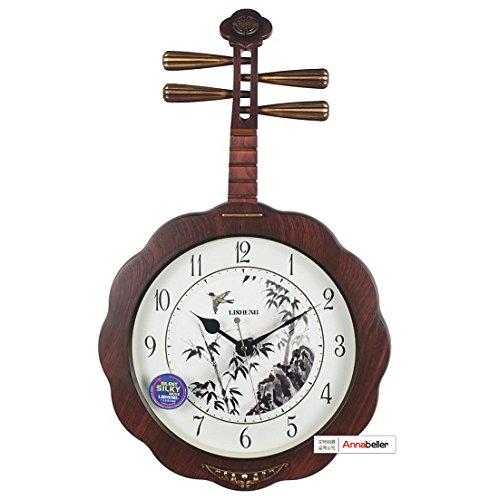 Dekorative Uhren Antike chinesische Kunst an der Wand hängende Wand Quarzuhr Uhr stumm das Wohnzimmer Tisch Zither,16 Zoll,Guqin Holz Farbe