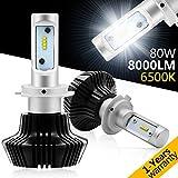 Best Led Headlights - H7 headlight bulbs, Autofeel 80W 8000lm 6500K Cool Review
