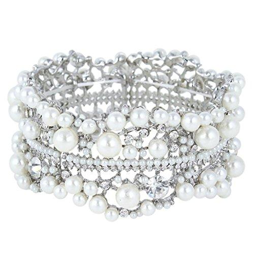 Ever Faith Il fiore di cristallo nuziale color avorio simulato stirata della perla del braccialetto di N01352-1