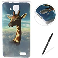 Lenovo A536 case,Feeltech Flexible Ultra Thin Soft Gel TPU IMD Slim-Fit Bumper Case In-Mold Decoration Technology with Cute Cartoon Lightweight [Shock-Absorption] Elastic Silicone Rubber Skin Protective Back Cover Luxury Fashion Design Printed Pattern [with Free Stylus] Scratch Resistant Protector Shell for Lenovo A536 - Giraffe
