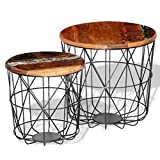 Anself vintage Round Wood Side Table Coffee Tables End Table Curved Metal Frame Set of 2