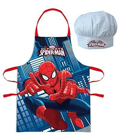 Marvel Ultime Spider-Man ou Vengeurs Enfants Jeu de Chef Cuisinier Tablier de cuisine et Toque de chef, 2 pièces -