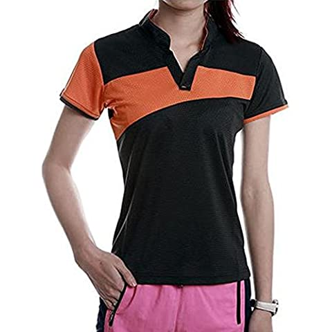 Aiyuda Outdoor Sports Quick Dry lui e lei Shirt causale Matching coppie magliette Turn Down Colletto Polo per ciclismo, uomo, Men Black Orange, Asia M