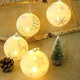 Uonlytech Weihnachtskugel-Weihnachtsbaum-hängende Bälle LED, die für Festival-Haus-Garten-Einkaufszentrum-Dekoration (Schneeflocke + Elch + Stern + Weihnachtsbaum) glühen 4PCS