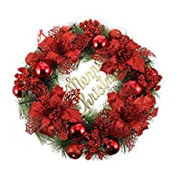 Toyvian Christmas Wreath with Poinsettia Flowers Balls Pine Cones Merry Christmas Sign Christmas Reef Hanging Decoration Ornaments for Doors Christmas Party Supplies(40cm)