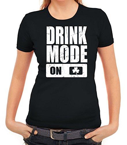 ShirtStreet Irland St. Patrick's Day Partner Gruppen Damen T-Shirt Drink Mode On Schwarz