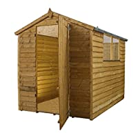WALTONS EST. 1878 7x5 Wooden Garden Storage Shed, Overlap Construction Dip Treated with 10 Year Guarantee, With Windows, Single Door, Apex Roof, Roof Felt & Floor Included, (7 x 5 / 7Ft x 5Ft) 3-5 Day Delivery