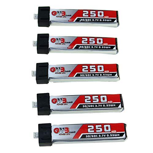 BeesClover - Batería Recargable de Repuesto para LDARC GAONENG GNB (3,7 V, 250 mAh, 1S, 30 C/60 C, para Nano QX CPX Tiny Whoop)
