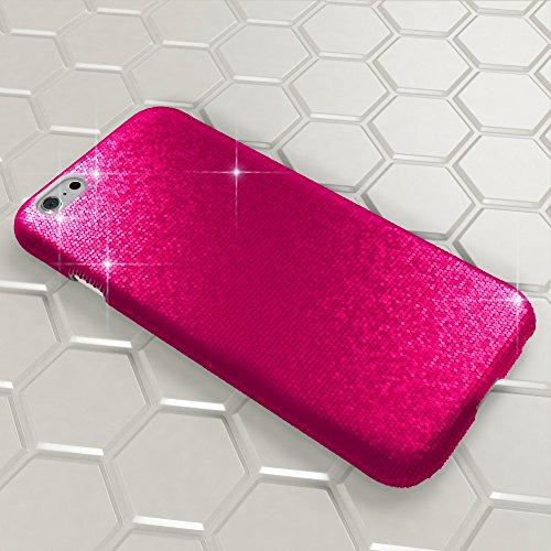 iPhone 6 6S Hülle Handyhülle von NICA, Glitzer Slim Hard-Case Back-Cover Schutzhülle, Handy-Tasche im Glitter Sparkle Design, Dünnes Bling Strass Etui Skin für Apple iPhone-6S 6 Smartphone - Schwarz Pink