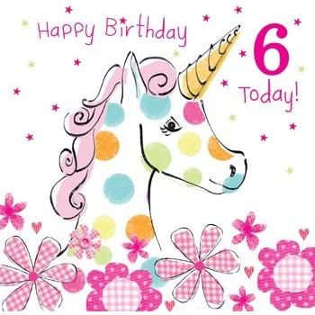 Olive & Belle Unicorn 6th Birthday Card - Happy Birthday 6 Today