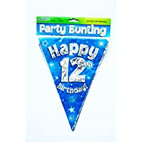 Happy 12th Birthday Flag Bunting Age Boys Blue Pennant Banner Party Decorations