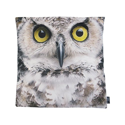 Umarmungen Idee Animal Face Print Home Decor Werfen Kissenbezug 45,7x 45,7cm, Textil, Owl Face, 46 x 46 cm Owl Decke Werfen