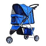 Cochecito Plegable Mascotas 75x45x97cm Perro Gato Carrito Ruedas Giran 360º Azul