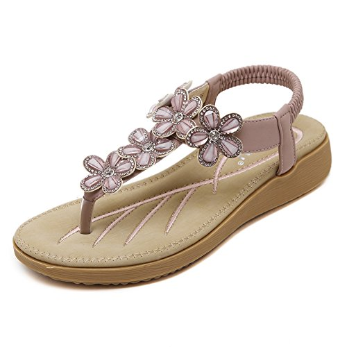 Minetom Damen Sommer Bohemia Strass Blume Sandalen Mädchen Zehentrenner Clip Toe Flip Flops Strand Schuhe Violett