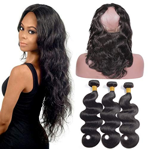10a grade 360pizzo chiusura frontale con bundles brazilian body wave virgin hair bundles con 360lace frontal unprocessed capelli umani con 360frontale (141618+ 14360frontale, colore naturale)