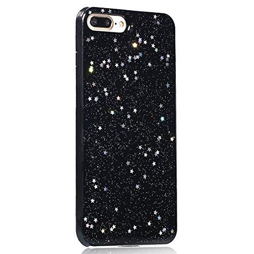 Coque iPhone 7 Plus,Étui iPhone 7 Plus,iPhone 7 Plus Case,ikasus® Coque iPhone 7 Plus Silicone Étui Housse Paillette étoile Téléphone Couverture TPU avec Modèle de diamant brillant paillettes bling br Noir A