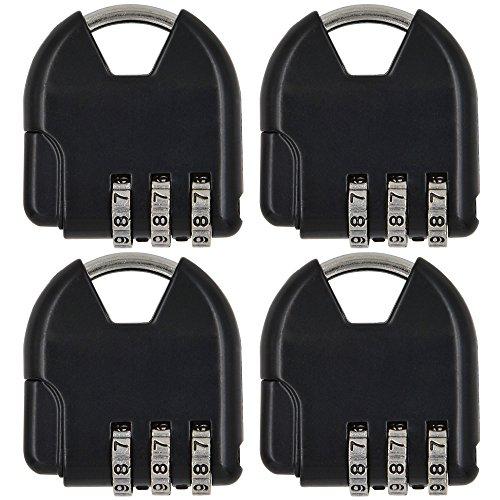 Zink Kombination (MENGS® 4 Stück S820 Kombinations Zahlenschloss aus Zink-Legierung mit 3 stelligem ZahlenCode für Gepäck, Sporttaschen , Briefkästen, weiche Taschen, Andenken, usw.)