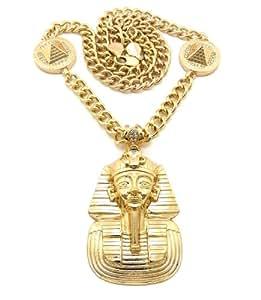Nouveau collier or à pendentif de pyramide et pharaon, chaîne à maillons l.10 mm L.76 cm