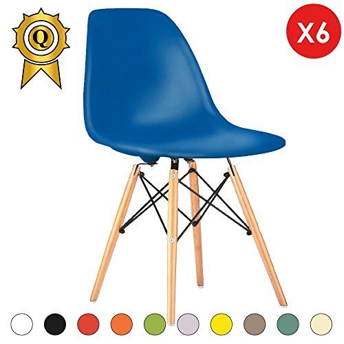 Promo 6x Stuhl Design Inspiration Eiffel Füße helles Holz Sitzfläche mobistyl® dswl-m-6 Blue Navy (Navy Design Gepflegte)