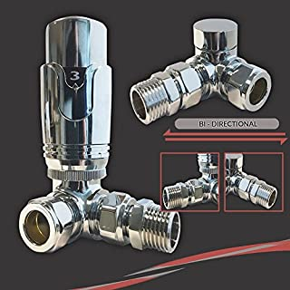 Thermostatic Corner Valve Set (Pair) - Suitable for Installation of your Heated Towel Rail or Radiator onto your central heating system (Settings 0-5) Corner TRV Valves