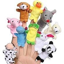 fourHeart Animales de la dedos títeres muñecos Soft Terciopelo accesorios juguetes, para Bebé Niños -- 10pcs
