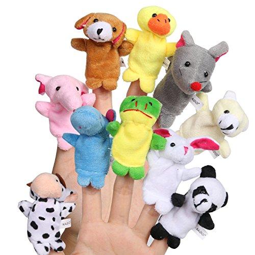 Weiches Plüsch Tiere Fingerpuppen Set Kinder Lernspielzeug Baby Spielzeug Fingerspielzeug zum Geschichten und Lernen (Tier-puppen)