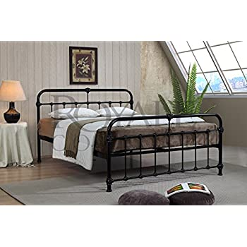 Mandy Double Metal Bed Frame Black Hospital Style Small