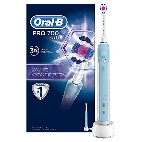 Oral-B PRO 700 3DWhite Elektrische Zahnbürste (wiederaufladbare Zahnbürste für weißere Zähne, Zahnaufhellung, 3DWhite Aufsteckbürste, Zahnaufhellung, schützt vor Karies, powered by Braun)