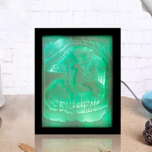 Kreative 3D LED Elch Muster Papier Geschnitzte Bild Beleuchtung USB Lampe Hochzeitsgeschenk Laser Geschnittene Papier Skulptur Geschenk Party Dekoration,Black