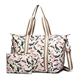 Miss Lulu 2 Pieces Set Women Bird Flower Matte Oilcloth Foldaway Overnight Bag Large Light Weight Shoulder Handbag (6641-16J Beige)
