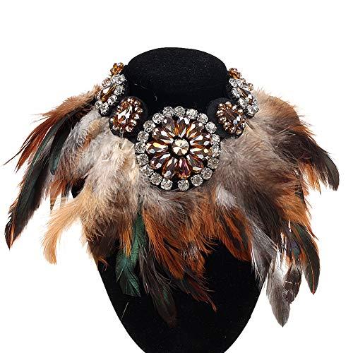 Amorar Halskette Indianer Damen Federhalskette Bohemian Retro Halskette Schmuck Anhänger Boho Kristallhalskette Frauen Choker Halsschmuck Lang Sweater Kette Kopfschmuck Gefälschter Kragen