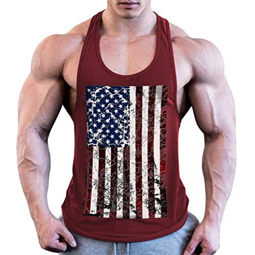 BHYDRY Herren Sommermode Flag Druck elastische ärmellose Fitness Weste Bluse Tops - Vordere Weste Stricken