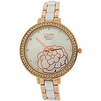 Eton Señoras Diamante Bisel Rose tono metal blanco y pulsera correa 3220j