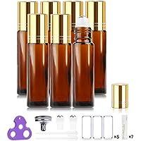 Botellas Roll On para Aceites Esenciales, 10ml (Ambar, Vacías, Paquete con 7) - Bolita de Acero Inoxidable, Empaque para Regalo para Cada Botella, Incluyen Abridor de Botellas y Etiquetas de Handy Picks