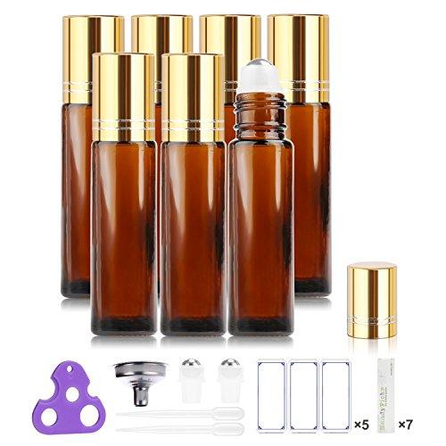 Botellas Roll On para Aceites Esenciales, 10ml (Ambar, Vacías, Paquete con 7)...