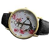 SSITG Kühl Damen Kunstleder Armband Uhr Quarzuhr Armbanduhr mit Blumenmuster Anker