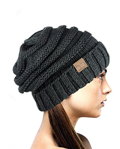 NYFASHION101 NYfashion101 Lose bauschige Winter Strickmütze Beanie - Metall Grau