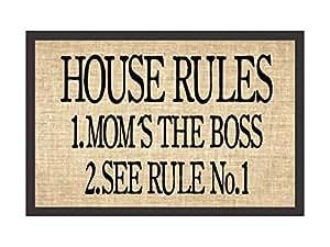 Paillasson tapis de porte House Rules Beige witzige Tapis de porte Tapis cadeau Mère