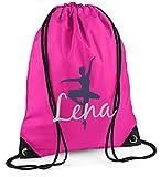 Turnbeutel mit Namen | inkl. NAMENSDRUCK | Motiv Ballett-Tänzerin | Personalisieren & Bedrucken | Sportbeutel Mädchen Kinder Pink Ballerina Lila